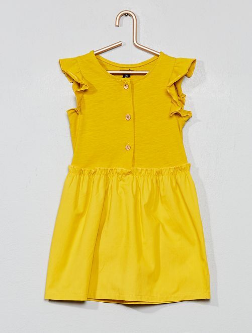 Vestido en dos materiales con volantes                                         amarillo Bebé niña