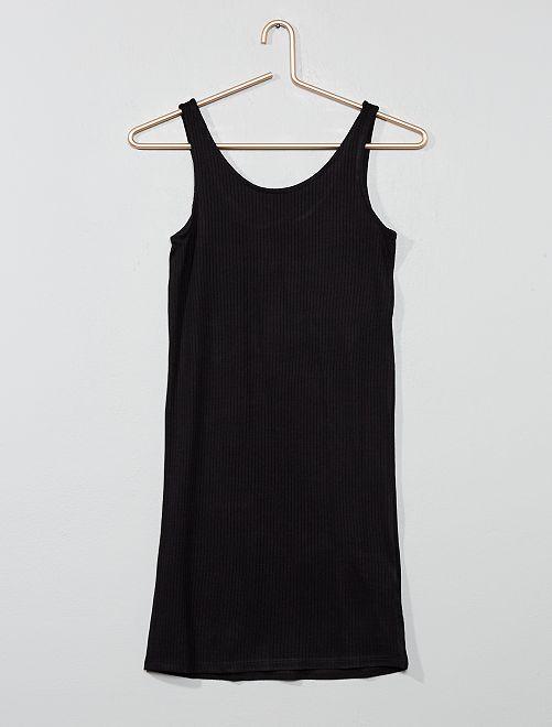 Vestido entallado de canalé                                         negro Joven niña