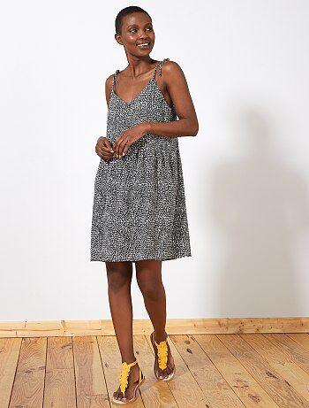 9bdaefdd6a Mujer talla 34 a 48 - Vestido estampado con 2 escotes - Kiabi