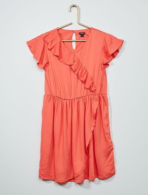 Vestido estampado con volantes                     rosa naranja