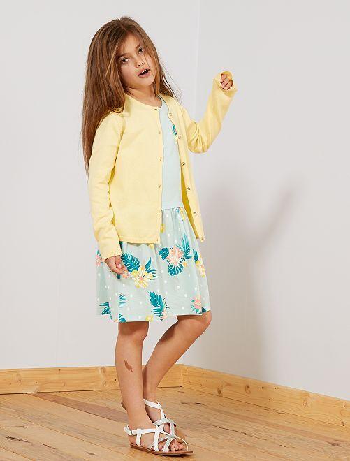 Vestido estampado de algodón orgánico                                                                 AZUL Chica