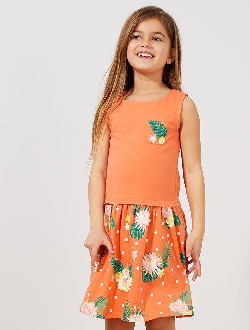 Vestido estampado de algodón orgánico                                         NARANJA Chica