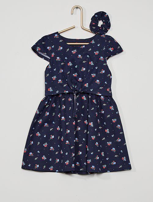Vestido estampado eco-concepción                             azul marino