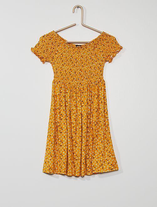 Vestido estampado fruncido                                                                             AMARILLO flor