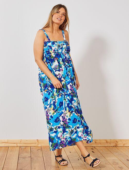 Vestido estampado fruncido en el pecho                             azul
