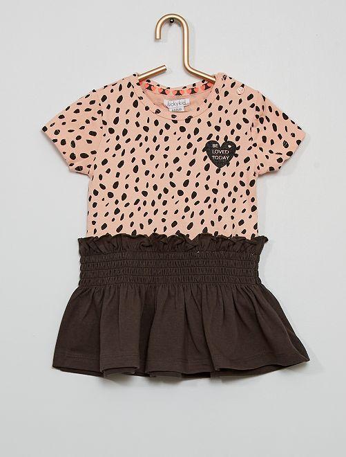 Vestido estampado                             rosa/gris