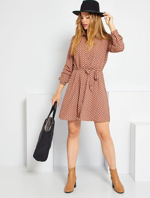 Vestido estampado vintage 'JDY'                                         NARANJA