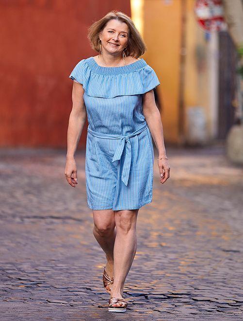 Vestido estilo bardot de lyocell                             AZUL Mujer talla 34 a 48