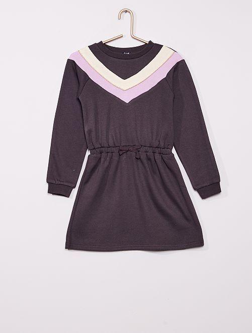 Vestido estilo sudadera colorblock                     gris oscuro