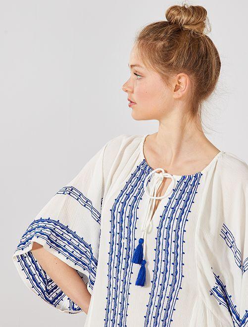 Vestido étnico corte kimono                             BLANCO Mujer talla 34 a 48