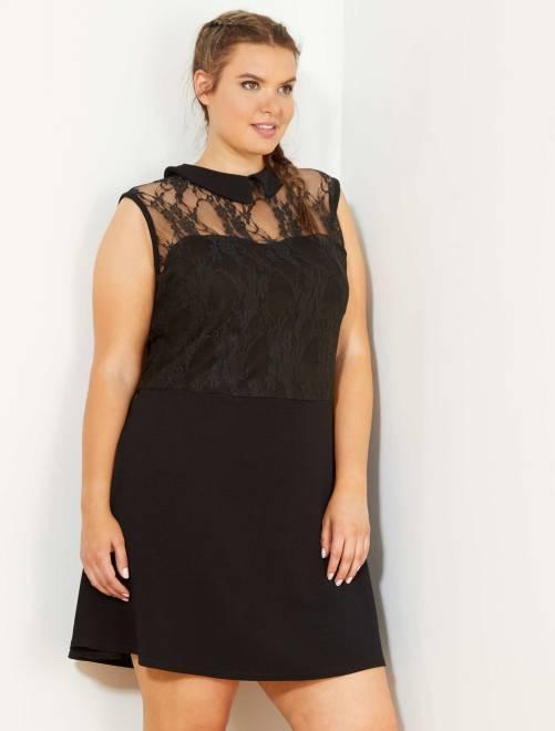 Vestido evasé plastrón de encaje                             negro Tallas grandes mujer