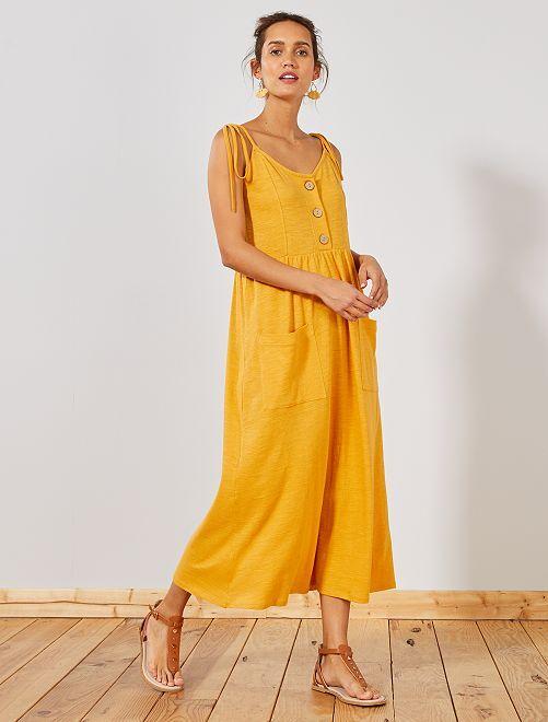 Vestido largo abotonado                                                     AMARILLO Mujer talla 34 a 48