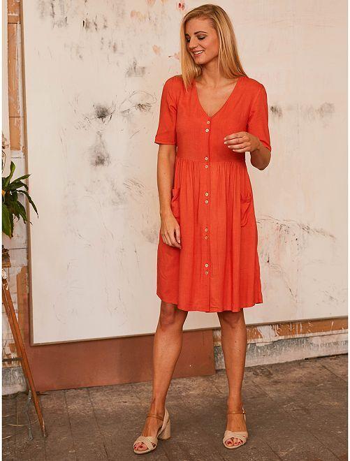 Vestido largo abotonado                                                                                         naranja