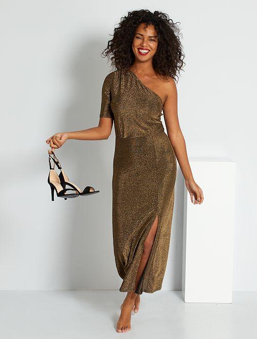 Vestido largo asimétrico                                         oro