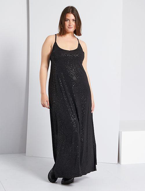 Vestido largo brillante                             negro