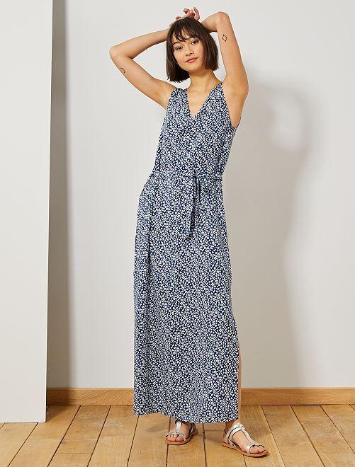 Vestido largo con abertura 'JDY'                                                     azul/blanco Mujer talla 34 a 48