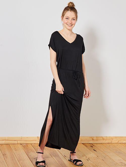 Vestido largo con abertura                                             negro Mujer talla 34 a 48