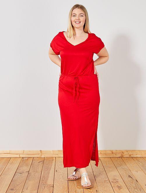 Vestido largo con abertura                             rojo Tallas grandes mujer