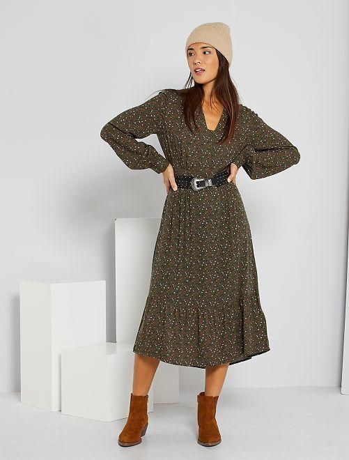 Vestido largo con botones                             VERDE