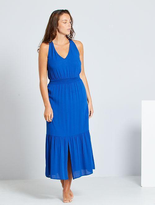 Vestido largo con cintura fruncida                                                                     azul