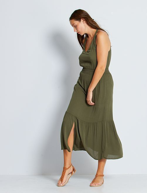 Vestido largo con cintura fruncida                                                                             KAKI
