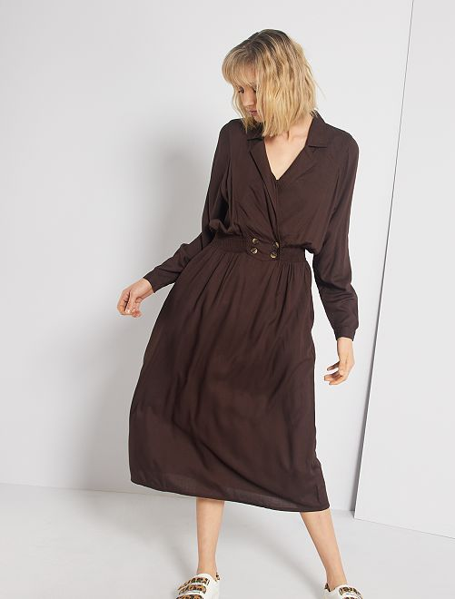 Vestido largo con cintura fruncida                                         marrón cafe