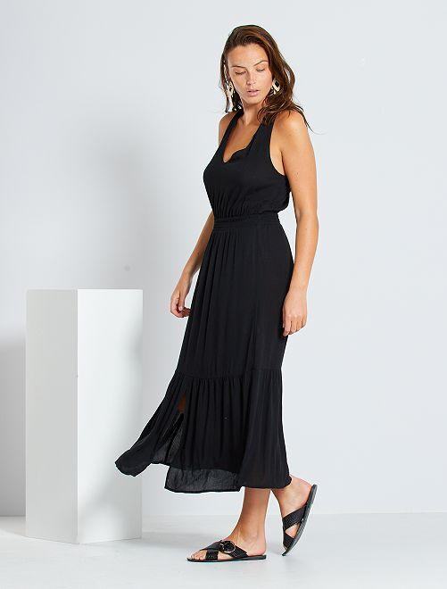 Vestido largo con cintura fruncida                                                                             negro