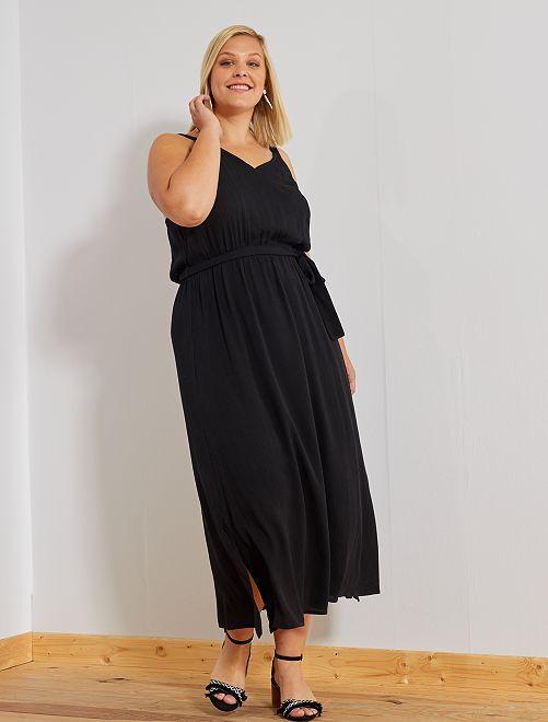 Vestido largo con cinturón                             negro Tallas grandes mujer