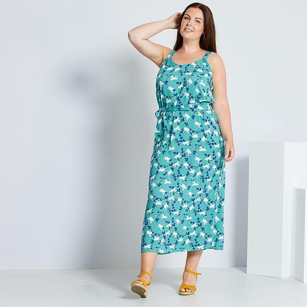 Vestido Largo Con Cinturon Tallas Grandes Mujer Verde Kiabi 8 00