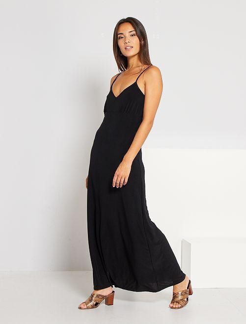 Vestido largo con cuello de pico                                         negro Mujer talla 34 a 48