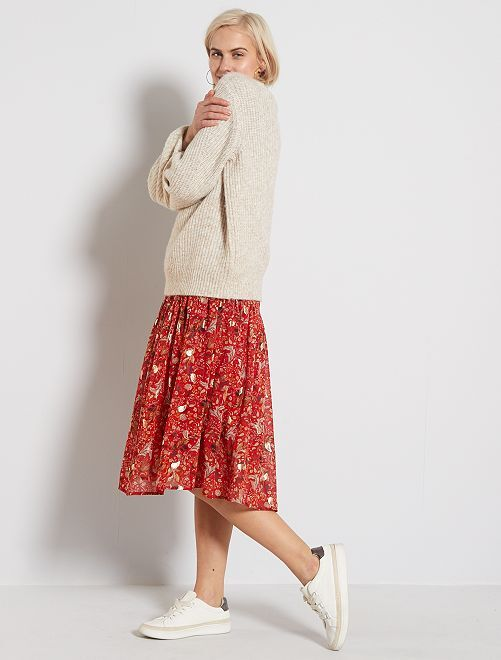 Vestido largo con estampado de cachemira                             NARANJA