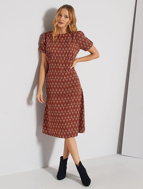 Vestido largo con estampado vintage                             BLANCO
