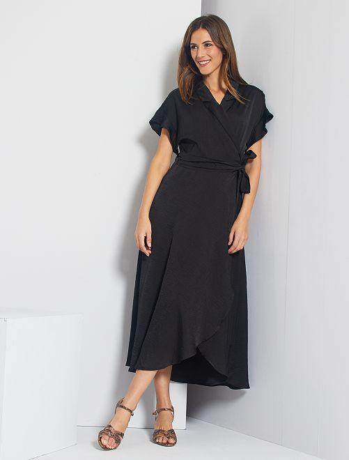 Vestido largo cruzado                                                                 negro