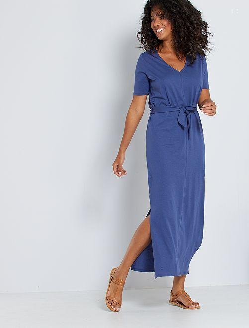 Vestido largo de algodón eco-concepción                                             azul cobalto