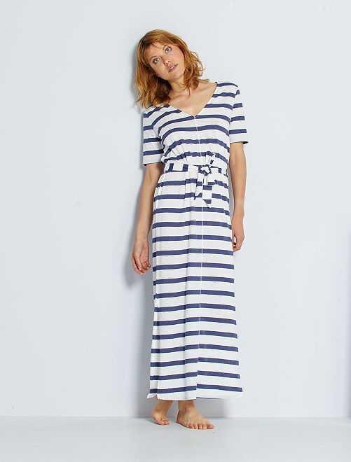 Vestido largo de algodón eco-concepción                                                                                                     BLANCO