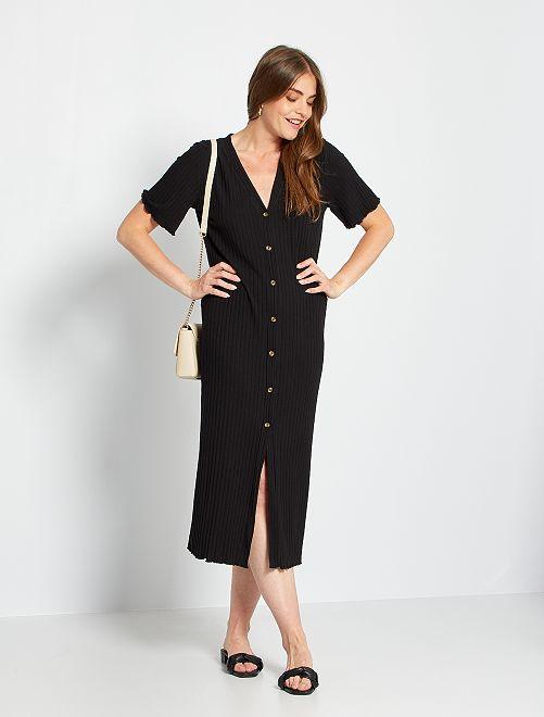 Vestido largo de canalé                             negro