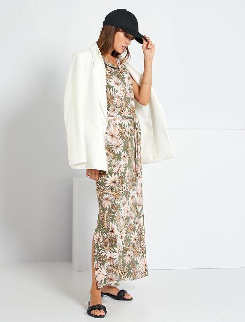 Vestido largo de 'flores'                             caqui
