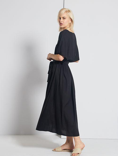 Vestido largo de flores                                                                                         negro