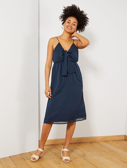 Vestido largo de gasa de plumeti                                         azul Mujer talla 34 a 48
