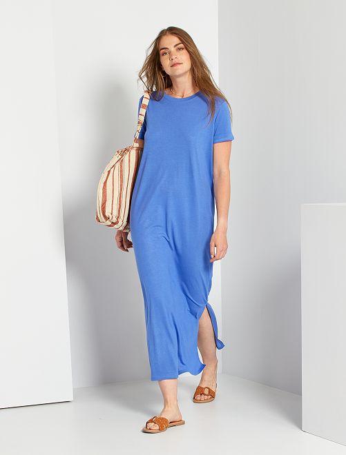 Vestido largo de punto                                         azul