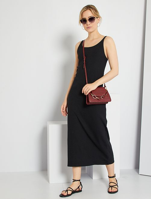 Vestido largo de punto de canalé                                                     negro