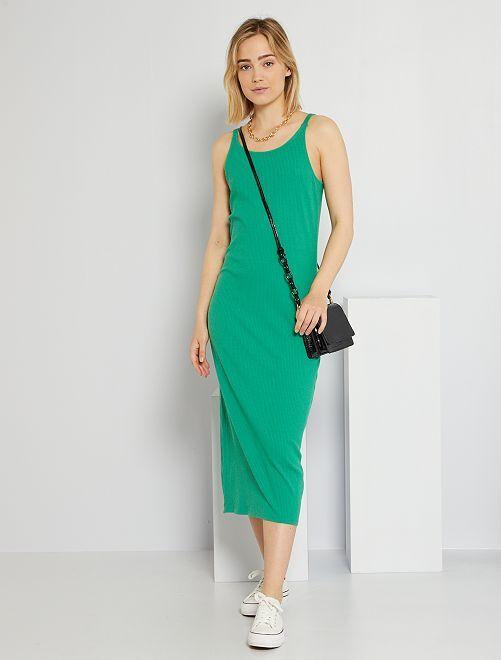 Vestido largo de punto de canalé                                         verde