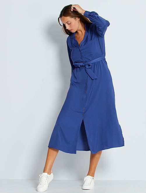 Vestido largo de raso                                                                 azul cobalto