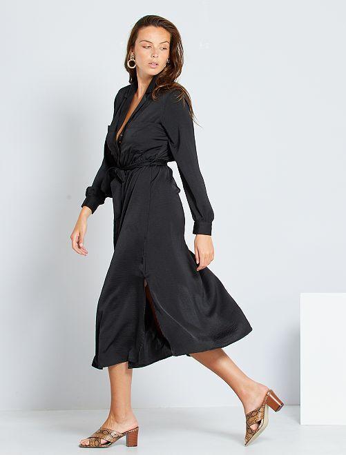 Vestido largo de raso                                                                             negro