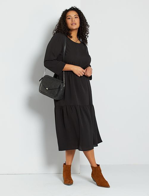 Vestido largo efecto lencero                             negro