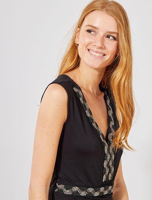 Vestido largo elástico con pedrería                                                                 negro Mujer talla 34 a 48
