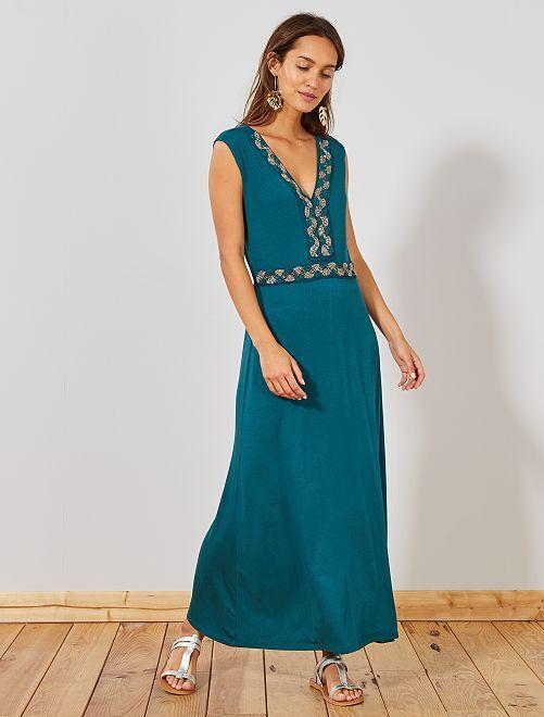 Vestido largo elástico con pedrería                                                                 VERDE Mujer talla 34 a 48