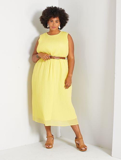 Vestido largo plisado                                                     amarillo