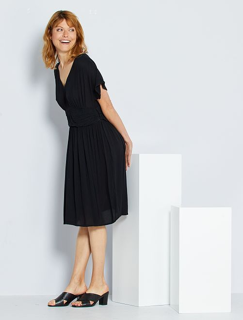 Vestido largo plisado                                         negro