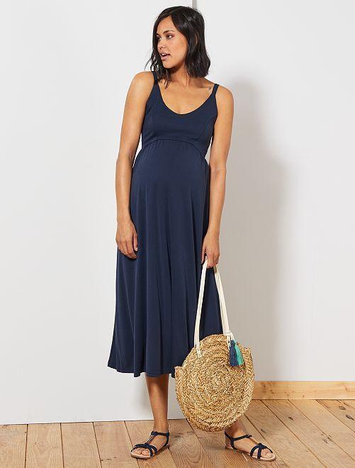 Vestido largo premamá                             azul Mujer talla 34 a 48